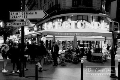 Black & White: Sidewalk Cafe at Night in   Paris, France